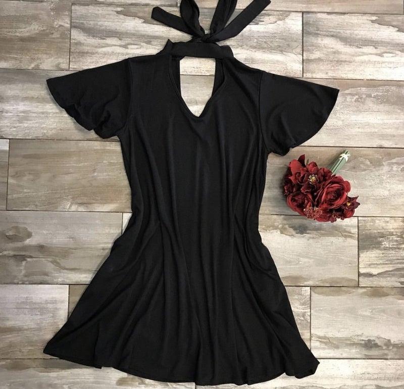 Back Tie Choker Neck Dress Black