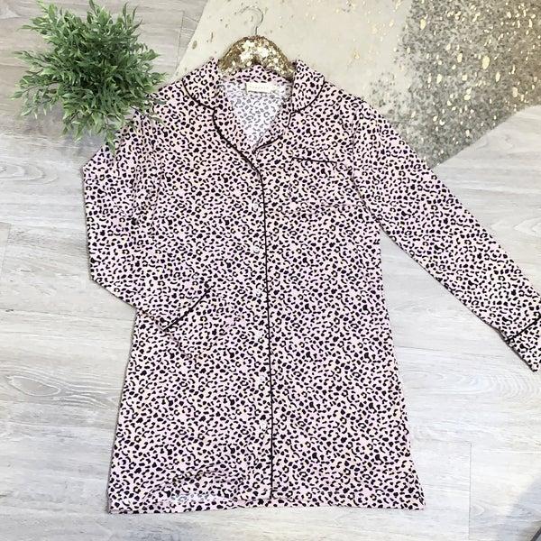 Pink Print Victorias Secret Wanna Be Butter Soft Lounge Shirt