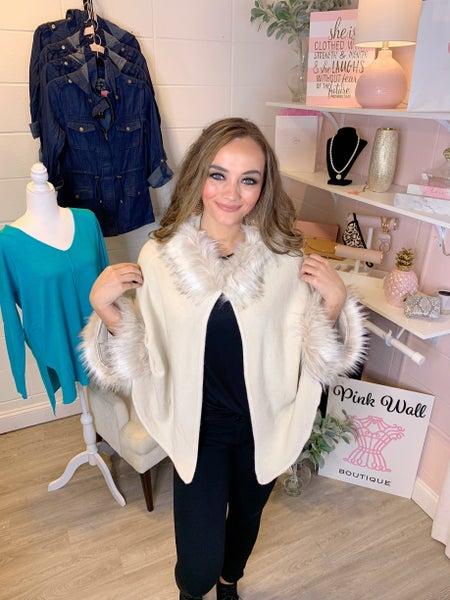 Trend Setter Faux Fur Hooded Jacket Ivory