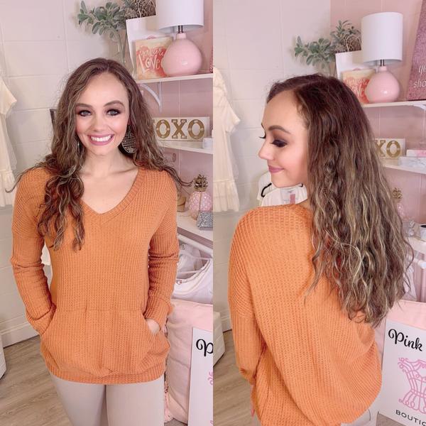 Rust Orange V-Neck Sweater
