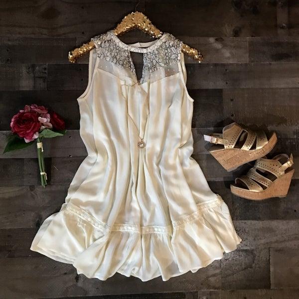 Natural Sleeveless Keyhole Dress *Final Sale*