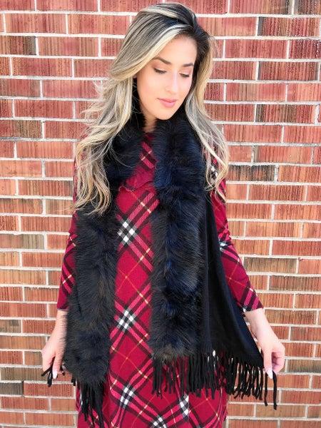 Black Fur Trim Crochet Vest
