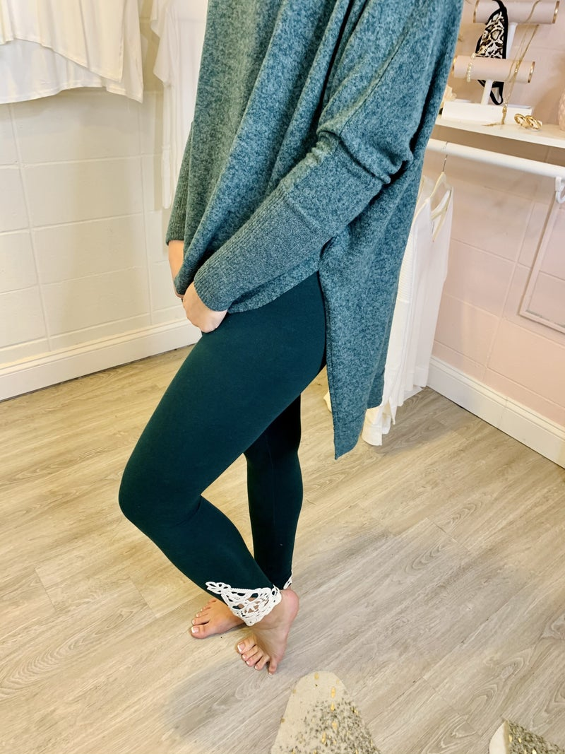 Beauty and Grace Embroidered Hunter Green Leggings