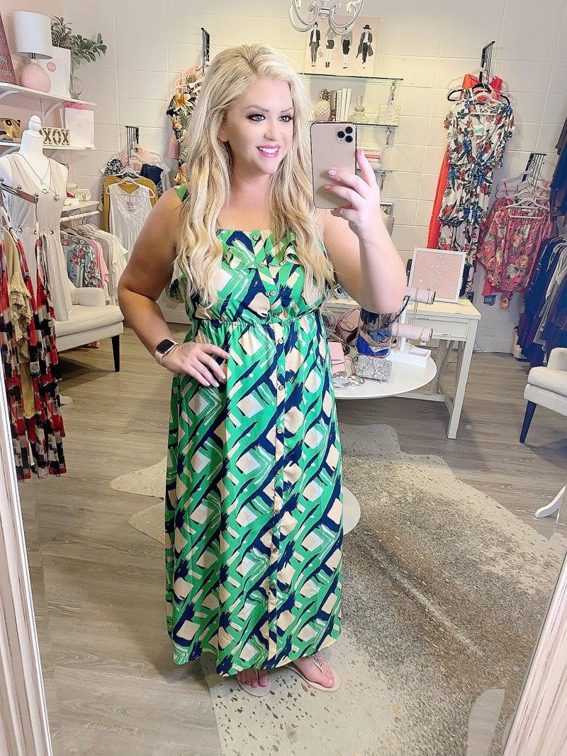 Green Ivory and Navy Maxi Dress