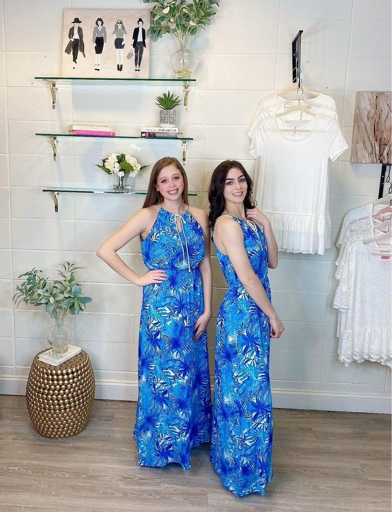 Miami Cruisin Floral Blue Maxi Dress