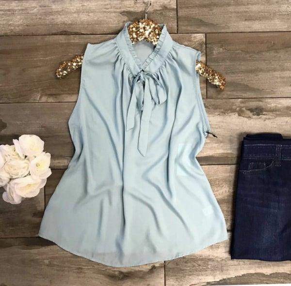 Mint Aqua Bow Tie Top