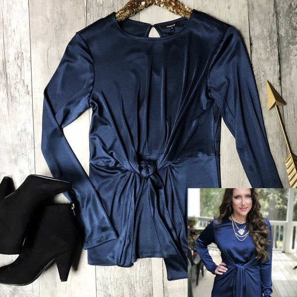 Silky Navy Bow Top *Final Sale*