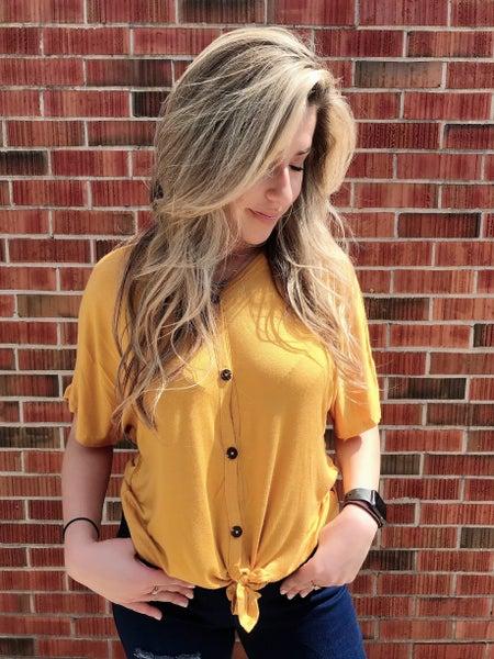 Mustard Dolman Sleeve with Button Tie