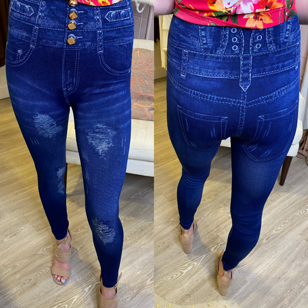 Blue Jeggings with Faux Buttons