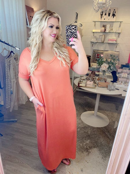 You Look Like a Star Coral Maxi Dress