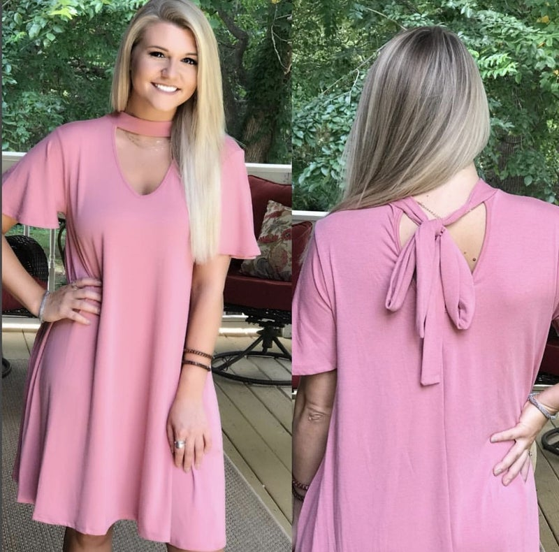 Back Tie Choker Neck Dress Pink