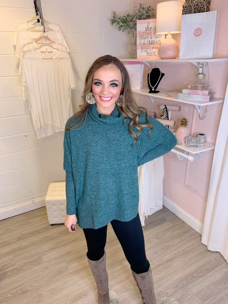 Sweet Bliss Cowl Neck Teal Sweater
