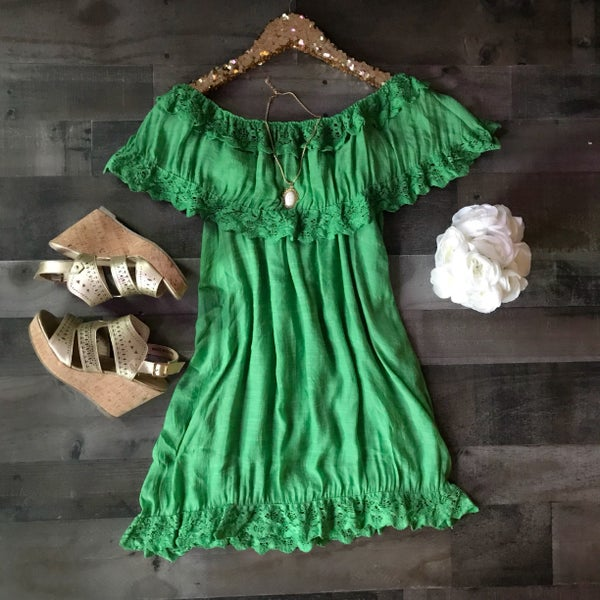 Bright Green Off Shoulder Dress with Lace Detail