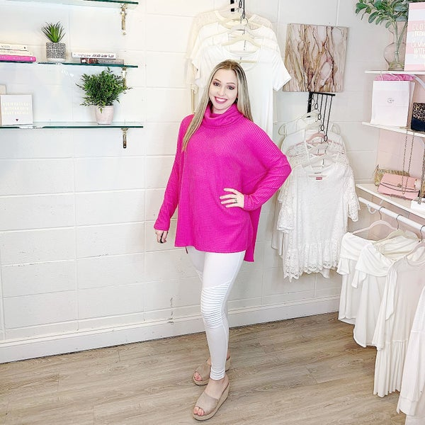 My New Love Cowl Neck Dolman Sweater Hot Pink