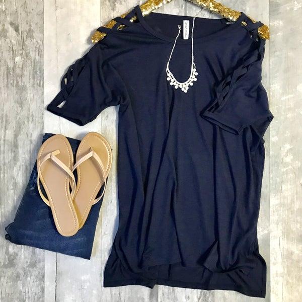 Navy Criss Cross Tunic