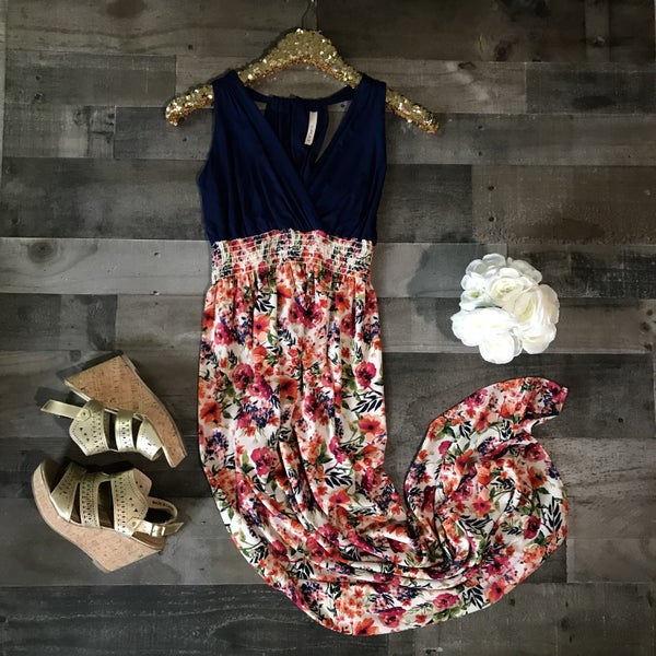 Navy and floral maxi dress