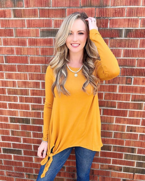 Gold Long Sleeve Side Knot Top