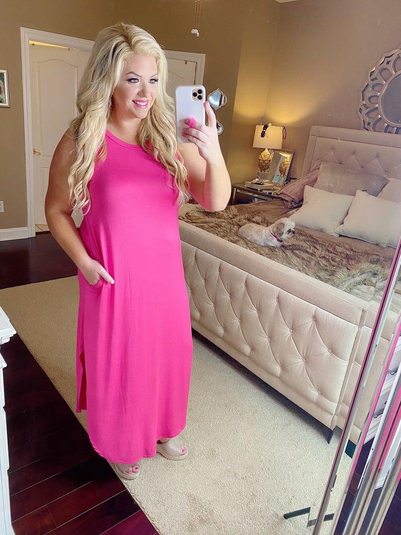 Hot Pink Sleeveless Maxi Dress