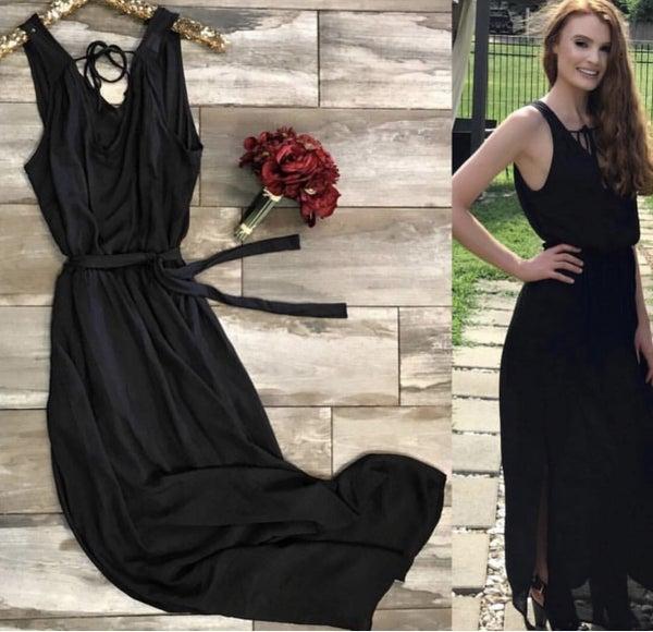 Black Maxi Dress with Tie