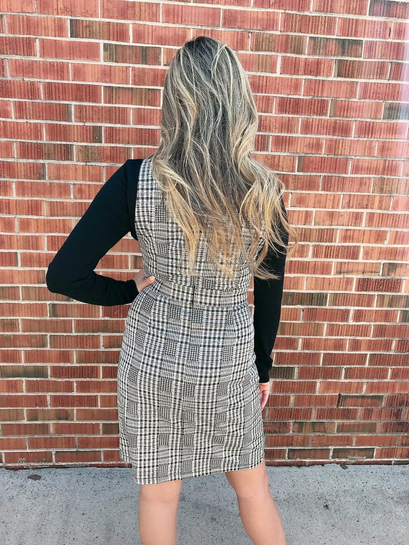 Black and White Checkered Button Dress