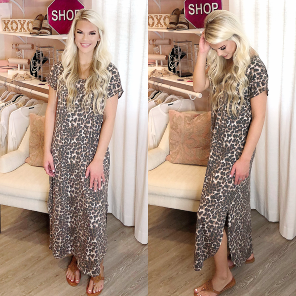 Leopard Print Maxi Dress with Pockets