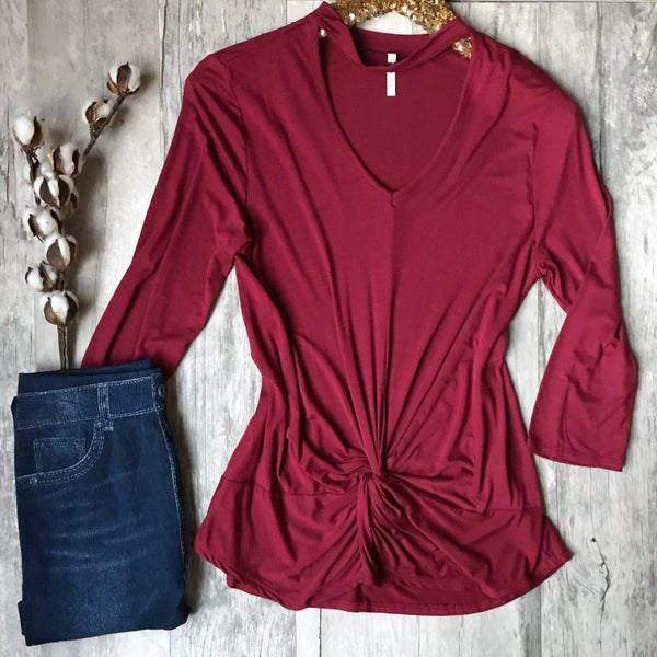 Burgundy Twisted Top