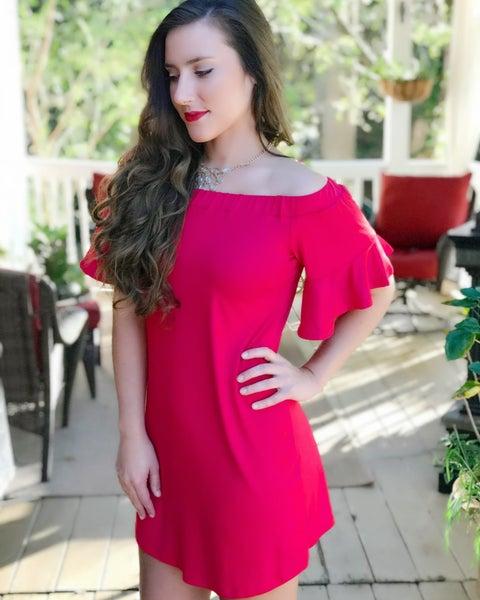 Bright Red Flutter Dress