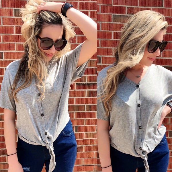 Grey dolman Sleeve with Button Tie