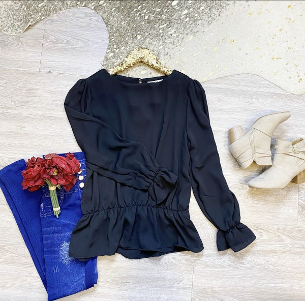 Confidence In You Puff Sleeve Blouse Black