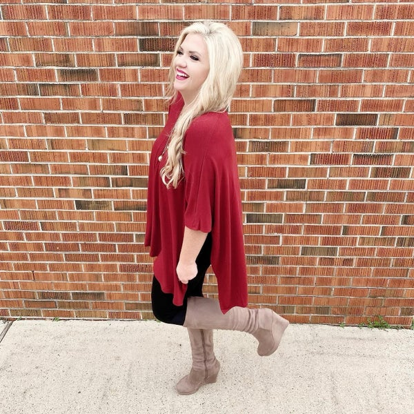 Everything You Need Poncho Tunic Deep Red *Final Sale*