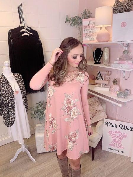Destined For Beauty Light Pink Floral Dress
