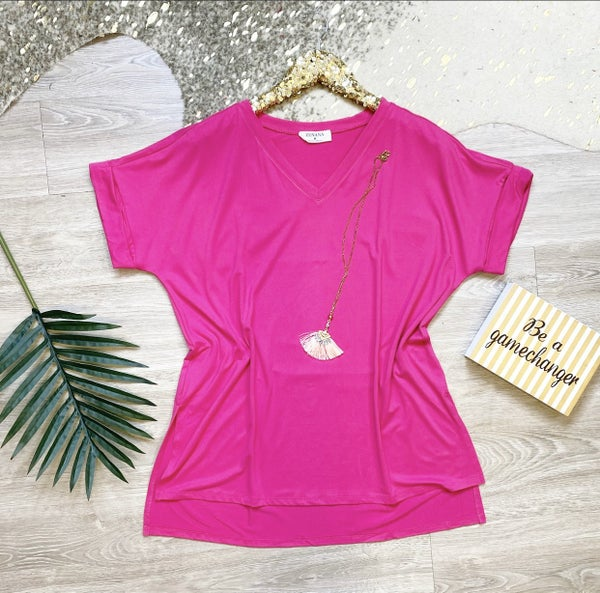 So This Is Love Rolled Tee Hot Pink