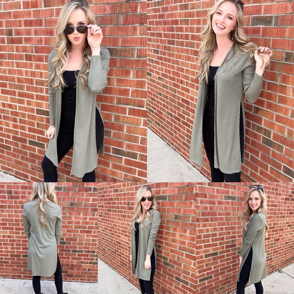 Olive Sweater Duster
