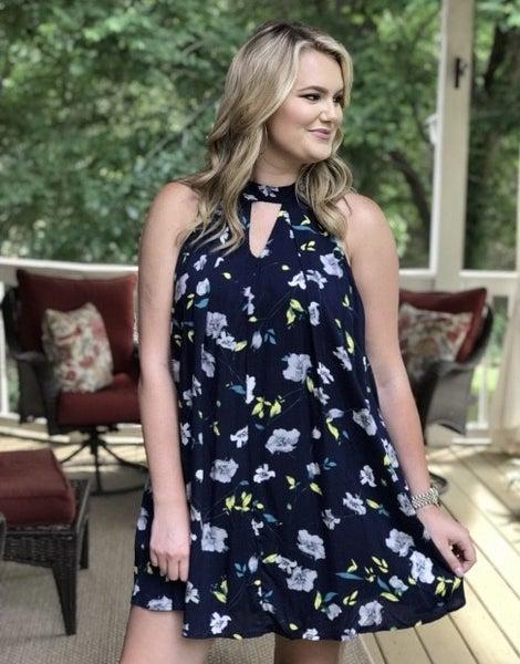 Navy Sleeveless Pleated Floral Dress