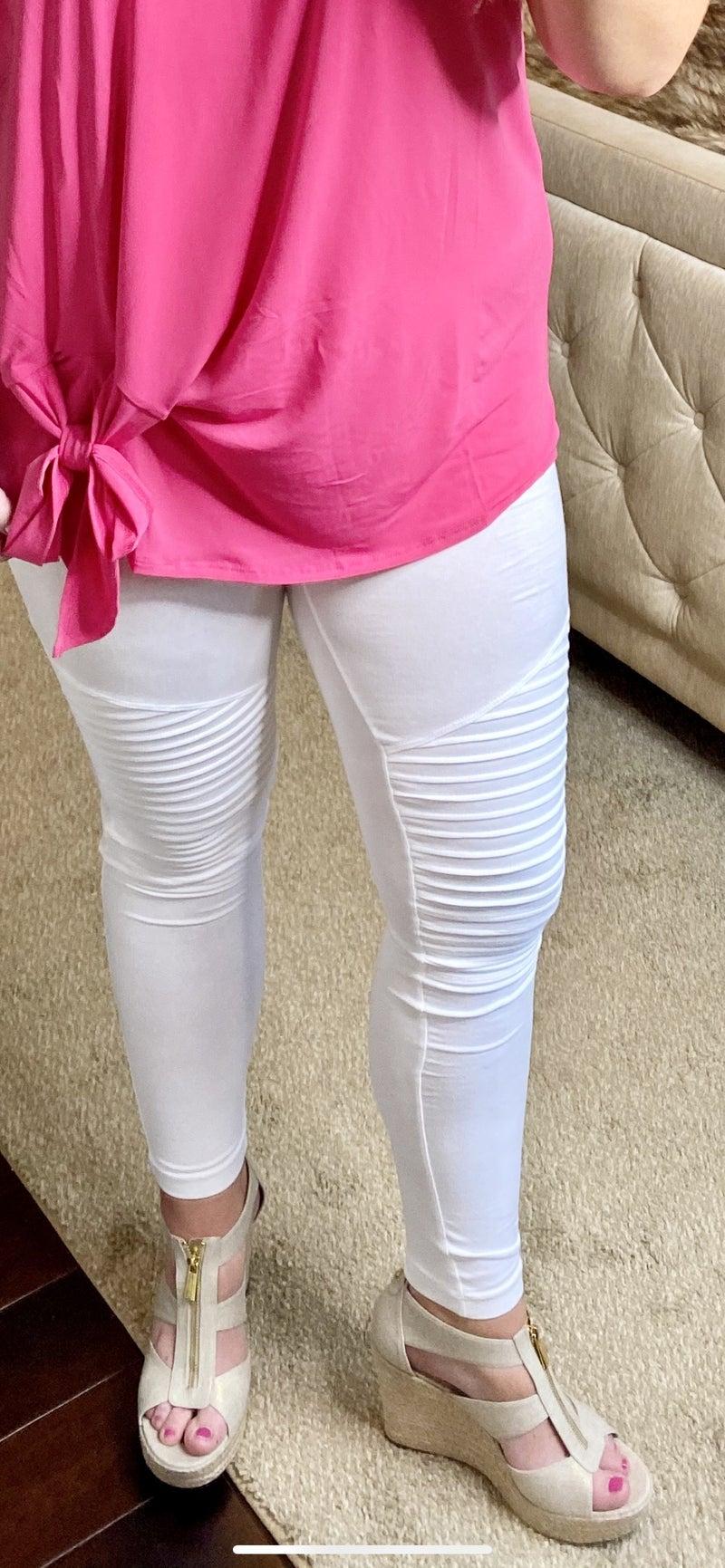 White Motto Leggings