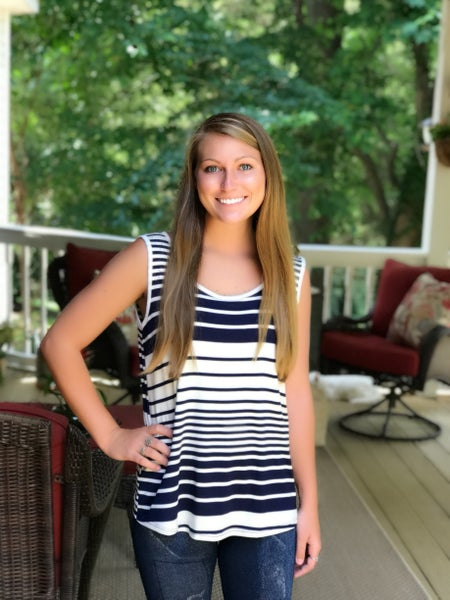 Ivory and Navy Stripe Top