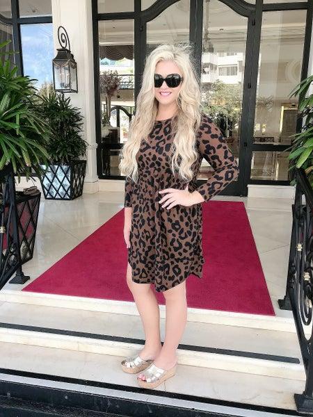 Brown Leopard Dress