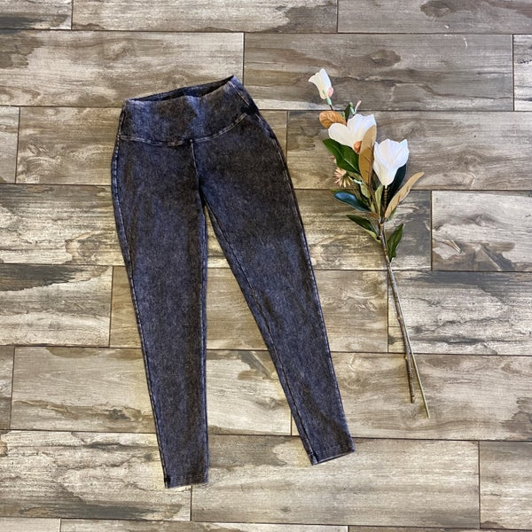 Mineral Washed Wide Waistband Leggings Charcoal