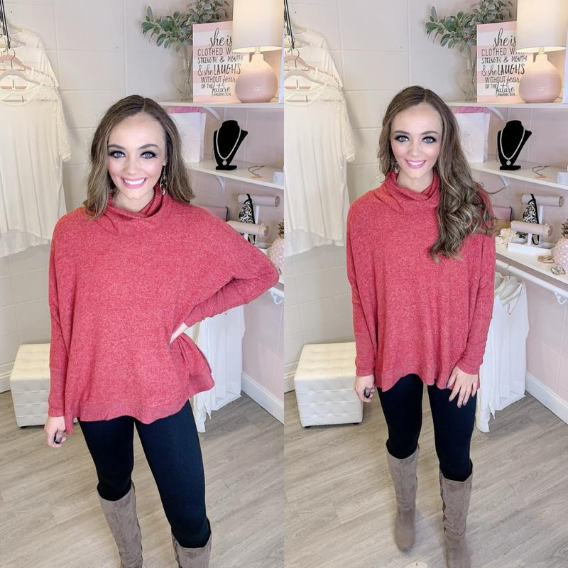Sweet Bliss Cowl Neck Scarlet Sweater