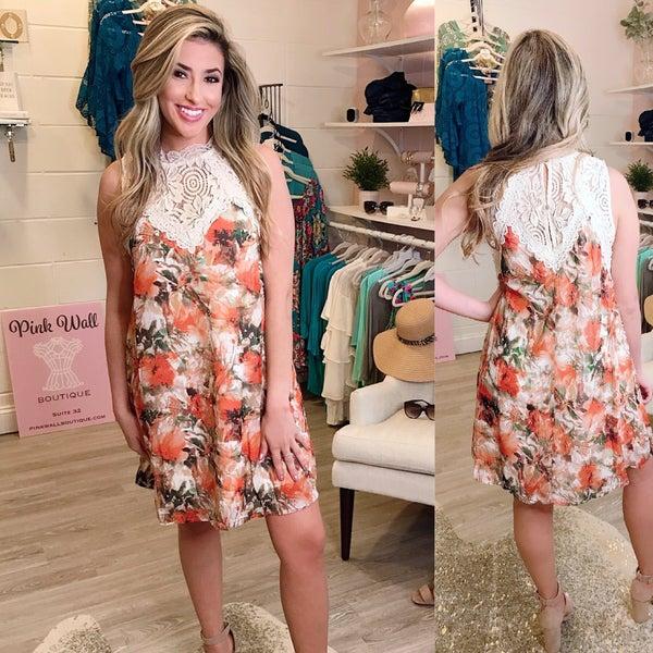 Ivory and Orange Lace Dress