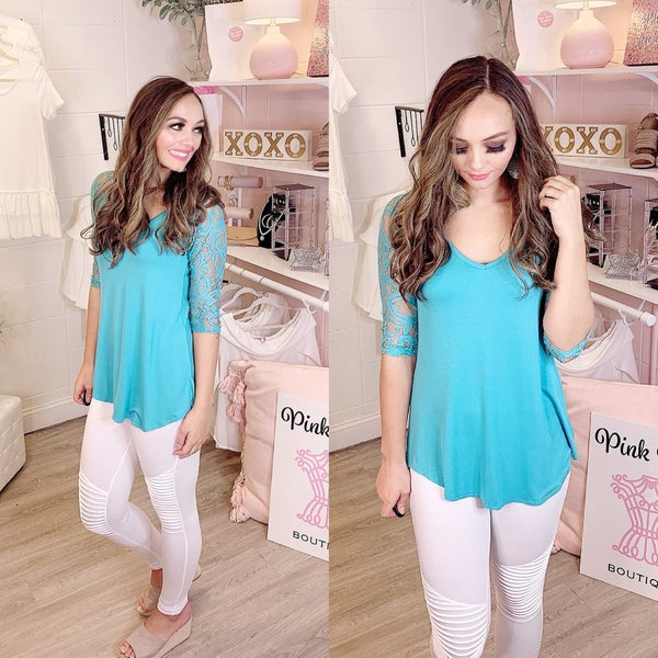 Lost In My Heart Lace V Neck Top Mint