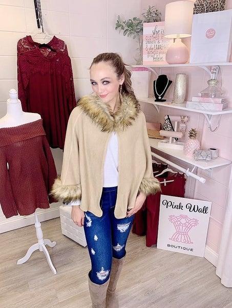 Trend Setter Faux Fur Hooded Jacket Camel