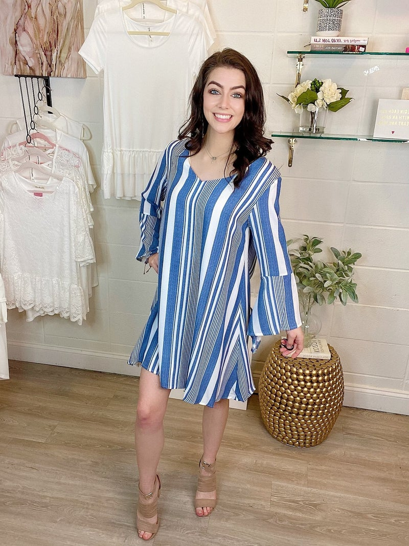Easy To Love Blue Stripes Dress
