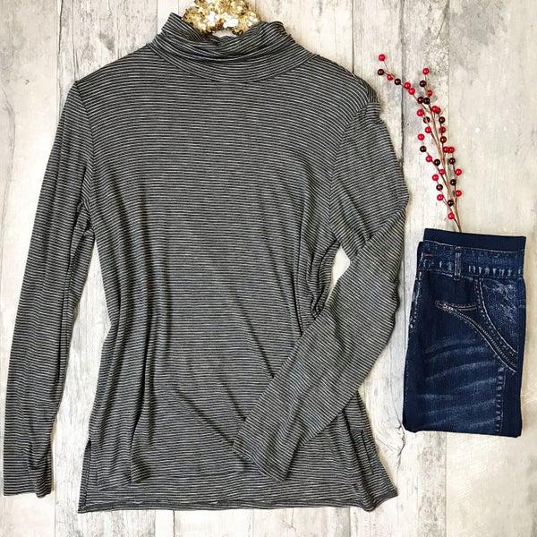 Grey & White Striped Turtleneck Top *Final Sale*