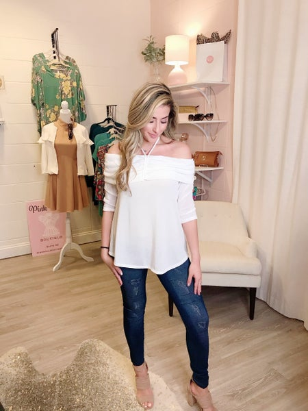 Soft Ivory Tie Blouse
