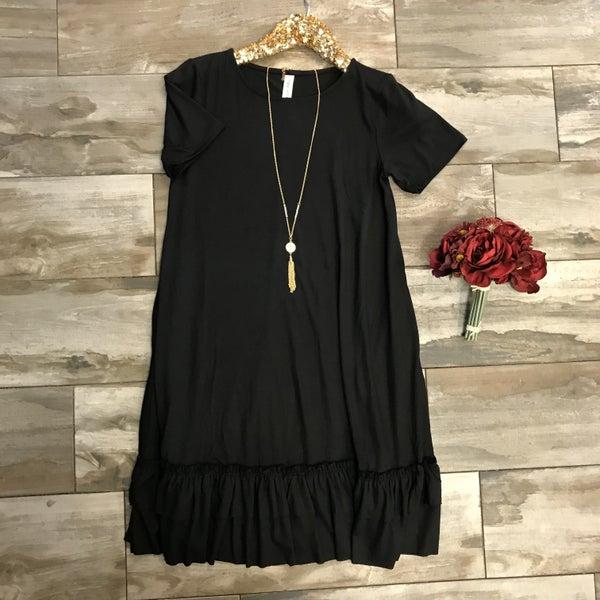 Black Dress Short Sleeve with Ruffle Bottom