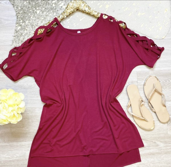 Weekend With You Criss Cross Tunic Cabernet
