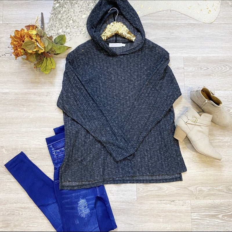 Make You Feel My Love Grey Knit Top