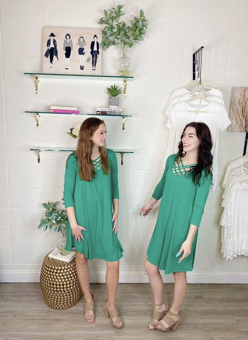 Meet Me at the Criss Cross Green Tunic Dress