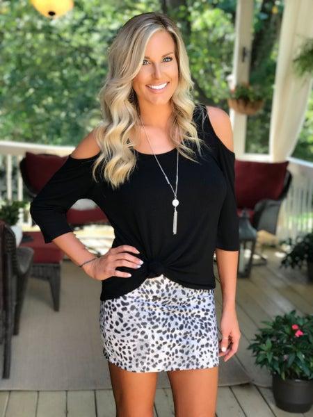 Grey Leopard Mini Skirt